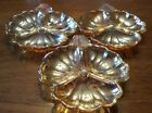 Set of three Jeanette Marigold Carnival Glass Candy/ Nut Dishes
