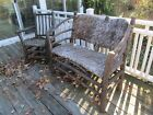 Antique Old Hickory Wicker Bent Wood Adirondack Rocker Rocking Chair
