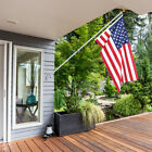 American Flag Pole Kit Wall Mount 6 Ft Spinning 3x5 US Flag Gold Ball Aluminum