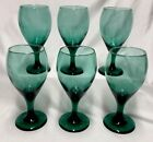 6 Vintage Libbey Juniper Green, Gold Trim Wine, Water Goblets Glasses, Arby's?