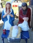 3 Pcs TPI Blowmold Nativity Set Light Up Outdoor Plastic Xmas Yard Lawn Vtg