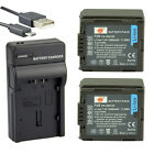 DSTE 2PCS VBG130 Battery For Panasonic HDC-SD9 HDC-HS9 With USB Camera Charger