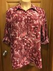 White Stag Bordeaux Roll-Up Sleeves with Button Tabs Blouse Plus Size 2X -18/20W