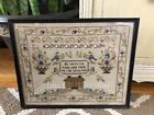 Antique Early 20th Century Embroidery Sampler House Basket Flowers Verse 1930s