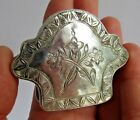 Antique solid silver snuff box- hand etched floral decorated- lovely shape