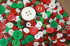 New Chritsmas Buttons in Lots of 50&100...Xmas Mix, Green,Red & Brown