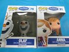 Set of two Funko Frozen Pop vinyl Figures # 81 Anna and #79 Olaf