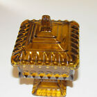 Vintage Amber Pedestal Candy Dish With Lid by Jeanette Glass Co.With Sticker