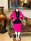 Vintage Travilla Pink & Black Javket & Skirt Suit Sz 8