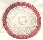 Vintage Indiana Glass Diamond Point King's Crown Ruby Flashed Serving Platter