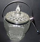 Vtg. Anchor Hocking Wexford Pattern Pressed Glas Ice Bucket Chrome Tongs/Handle