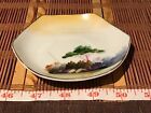 Asian Porcelain Small Hexagon Saucer Outdoor Scene  4 1/2