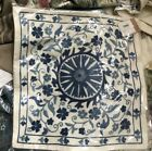 """Pottery Barn Arella Pillow Cover Blue White 18"""" Embroidered Floral Provincial"""