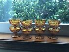 Set Of 8 Amber Glass Footed Parfait Indiana Colony Whitehall Cubist Mid-century