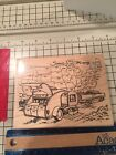 STAMPENDOUS rubber stamp TRAILER TRAVEL wood mounted Car Map Ex Large