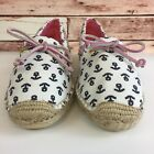 Sperry Womens White Pink Blue Anchor Flats Slip On Boat Shoes Size 7