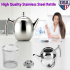 New 1L Stainless Steel Teapot Coffee Tea Pot Water Kettle With Filter US