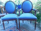 Pair of Mid-Century Chairs Mahogany and Gold Gilt Leaf Trim  Blue Fabric