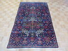 4'6 X 7 Hand Knotted Blue Antique Fine Kerman Tree Of Life Persian Rug G2798