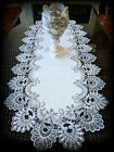 Doily Dresser Scarf Runner Silver Gray Lace Antique White Ivory 35 x 16
