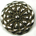 Antique Black Glass Button Fancy Flower Design w/ Silver Luster 1