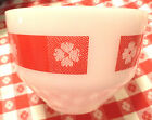 VINTAGE WHITE MILK GLASS MIXING SERVING BOWL FEDERAL RED PICNIC CHECK DESIGN