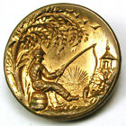 Antique Brass Button Asian Man w/ Fish on His Line at Sunrise - 5/8
