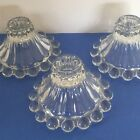 3 Clear Vintage Glass Boopie Candle Holders Anchor Hocking for Tapers