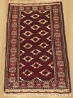 Authentic Hand Knotted Vintage Afghan Zaidan Balouch Wool Area Rug 4x3 FT (4133)