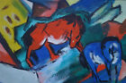 Fine German Abstract expressionism Kandinsky era original oil painting Signed