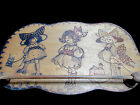 Antique Pyrography Tie, Towel Rack 3 Little Gibson Girls and Dolly - Adorable!
