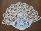 Vintage Antique PINEAPPLE Crocheted Embroidered PEACOCK Doily
