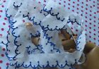 ANTIQUE EMBROIDERED Blue Scalloped ORGANDY TRIM 2+Yds X 3/4