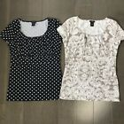 Lot of 2 Ann Taylor Short Sleeve Cotton Stretch Blouses Polka Dots