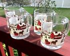 Libbey Winter Village Holiday Christmas Clear Glass Coffee Cup or Mug, Set of 4
