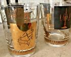 8 VTG MCM Gilded Hollywood Regency Eames Thorpe Era Musician Cocktail Glasses