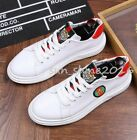 Mens Embroidery Leather Lace Up Board Shoes Sports Sneakers Athletic oxford