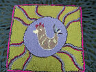 PRIMITIVE STYLE HAND HOOKED WOOL RUG-SITTING CHICKEN,GREEN,LAVENDER...
