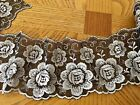 Silver Floral Embroidered Ribbon Border Lace Trim for Sewing Crafts 35 Wide