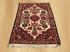 Authentic Hand Knotted Semi Antique Persian Hamadan Wool Area Rug 3 x 2 (4742)