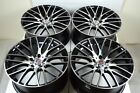 4 New DDR Zuki 17x75 5x1143 38mm Black Polished Wheels Rims