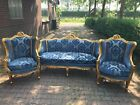 ANTIQUE LOUIS XVI FRENCH LIVING ROOM SET: SOFA/SETTEE + 2 CHAIRS-WORLDWIDE SHIP.