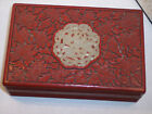 FINE ANTIQUE CHINESE CINNABAR LACQUER BOX PEONY C1890 WHITE JADE COLOR STONE