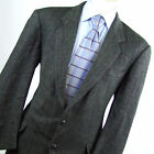 Camridge Members Mens Grey Suit Jacket 44 Short Wool Herringbone