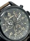 Timex Expedition Men's Watch Brown Leather Band Indiglo Chronograph T49905 Used