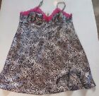 Ambrielle negligee-Black & gray cheetah print-pink lace-shorte baby doll- XL