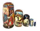 Christmas Matryohka Nativity Scene Christ 5 Piece Russian Icon Nesting Dolls