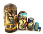 Christmas Matryohka Nativity Scene Jesus 5 Piece Russian Icon Nesting Dolls Gift