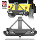 Textured Black Rear  Bumper w/ Tire Carrier & D-rings for Jeep Wrangler TJ 97-06