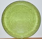 Vintage Green Glass Centerpiece/Serving Bowl with Swirl Ribbed Design